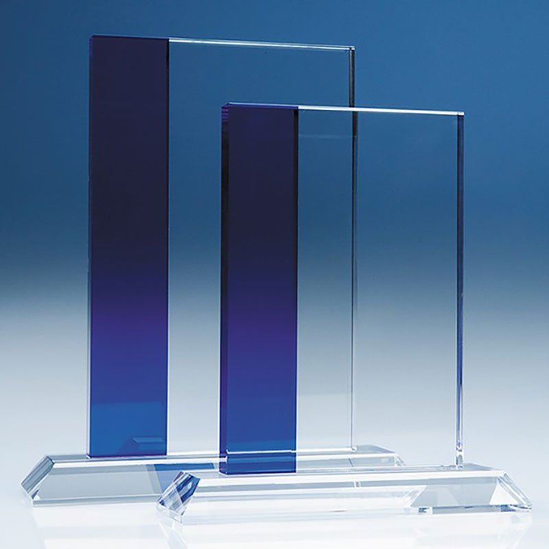 19cm Optic Crystal Blueline Rectangle