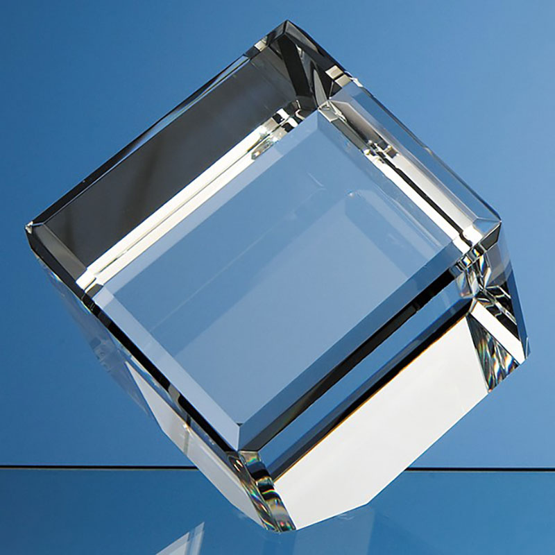 10cm Optical Crystal Bevel Edged Cube