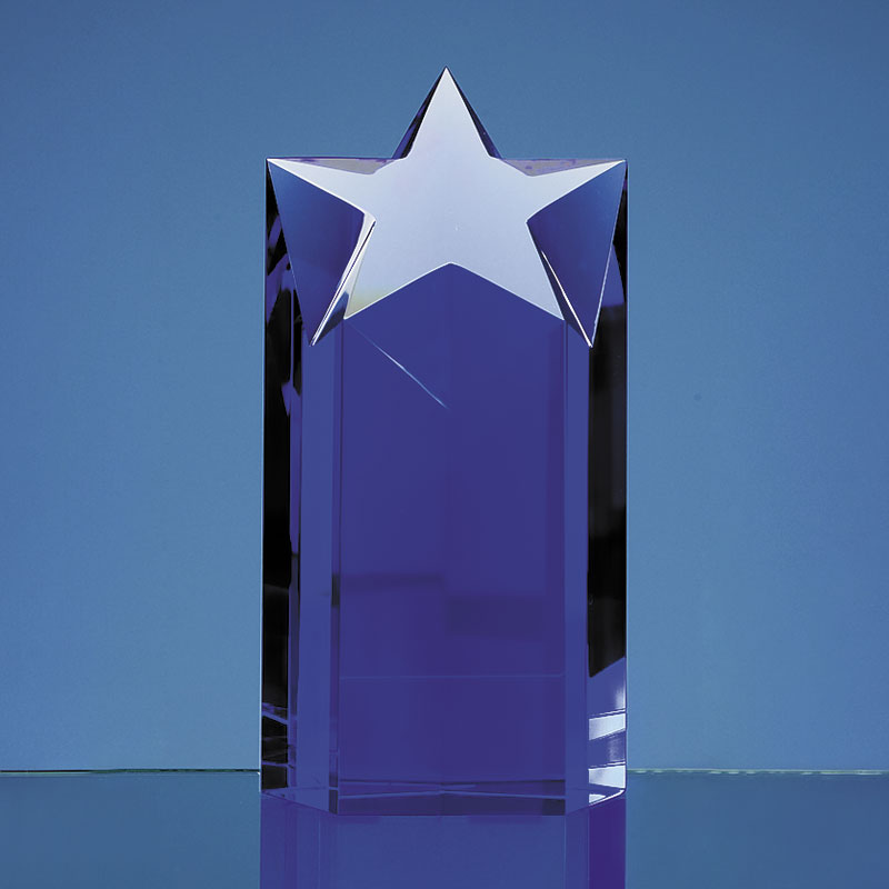 Engraved Blue Optical Crystal Star Column Award 7in