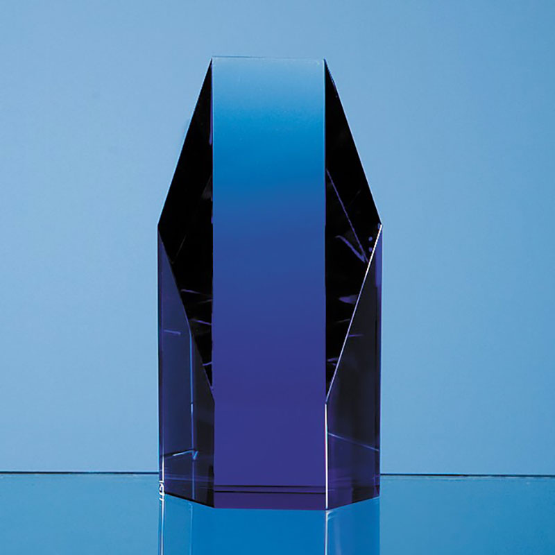5in Blue Optic Crystal Hexagon Award