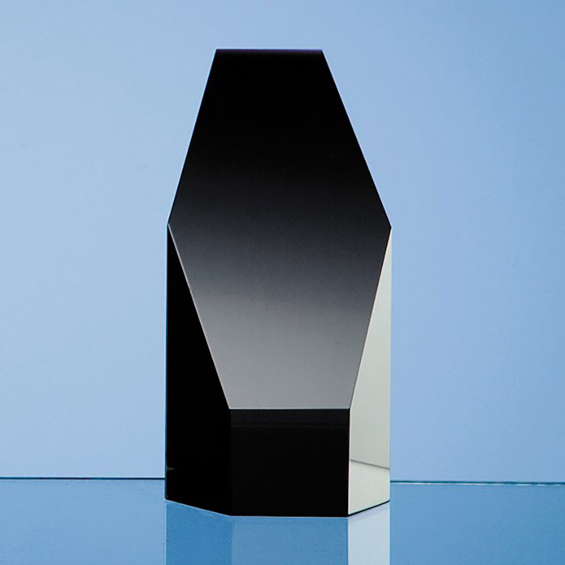 12.5cm Black Optic Crystal Hexagon Award