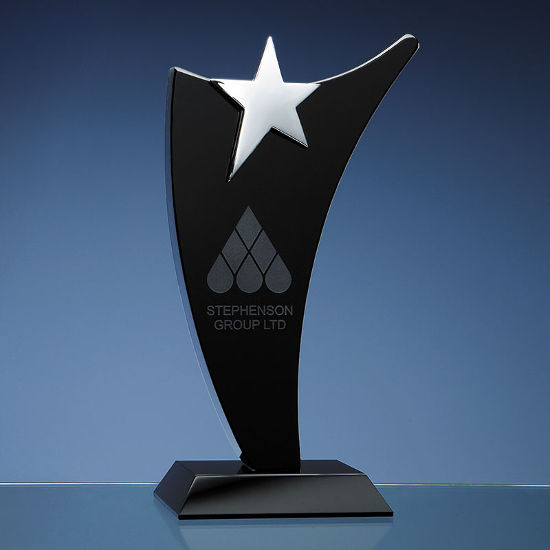 Black Optical Crystal Swoop Award with Silver Star 25cm