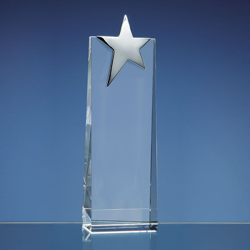 Engraved Optical Crystal Wedge with Silver Star 22.5cm
