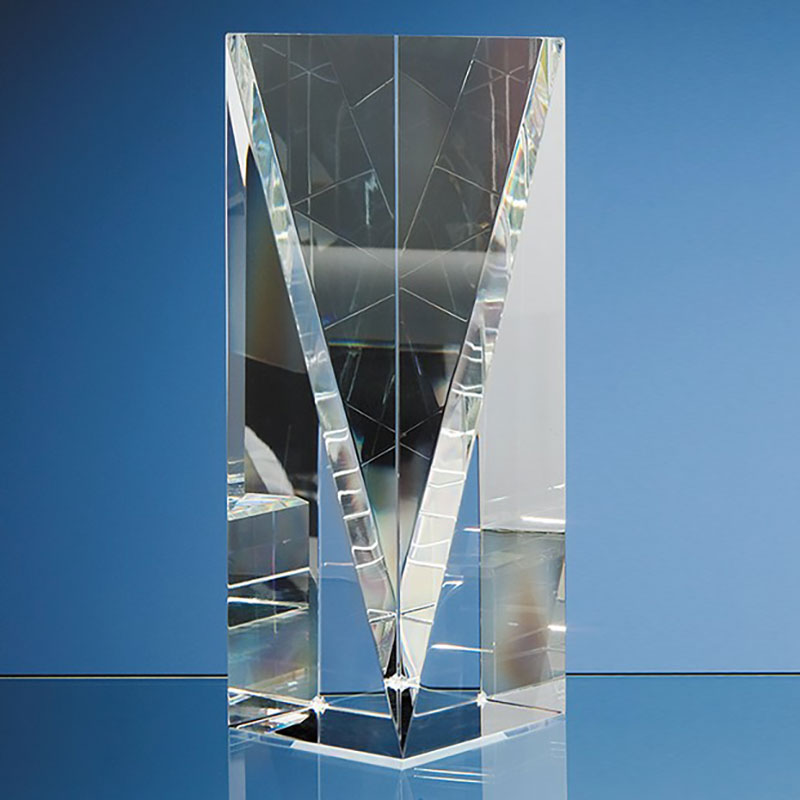 8in Optic Crystal Facet Rectangle Award