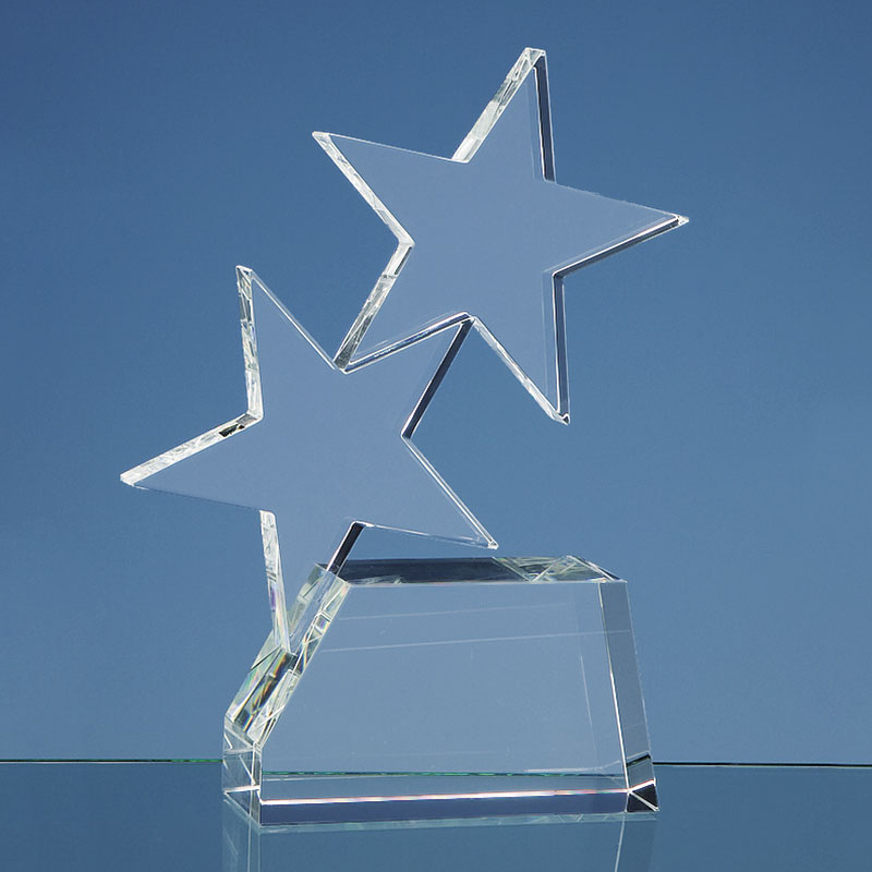 Engraved Optic Crystal Double Rising Star Award
