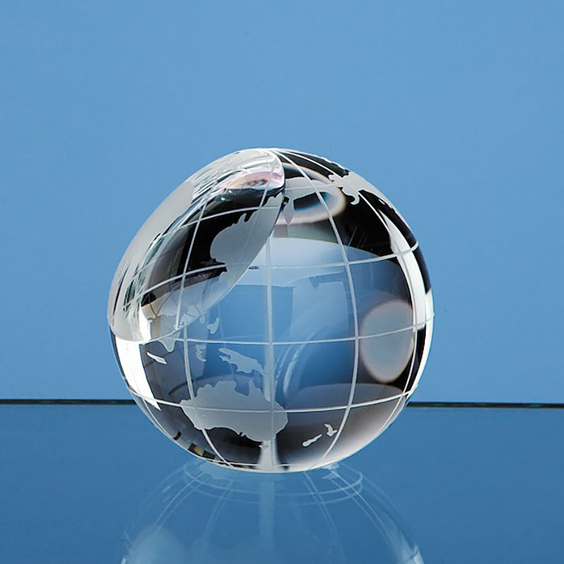 60mm Optic Crystal Globe Paperweight