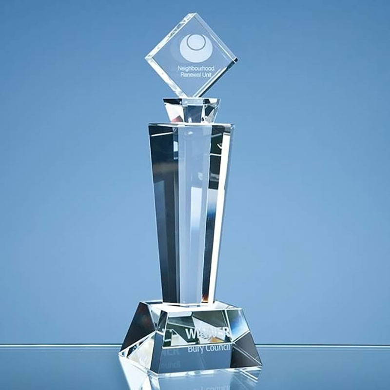 22cm Optical Crystal Mounted Square Award