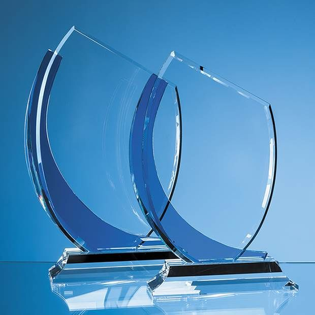 26.5cm Optical Crystal Slope Award with Sapphire Blue Curve