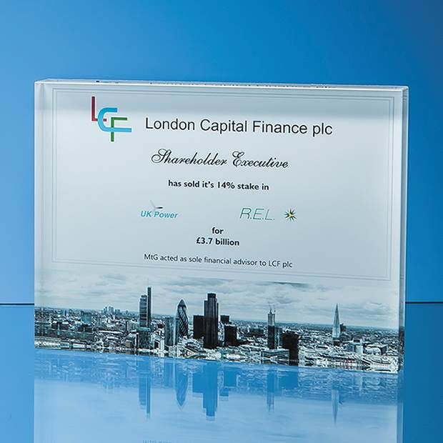 Optical Crystal Rectangular Awards Plaque 200x150mm