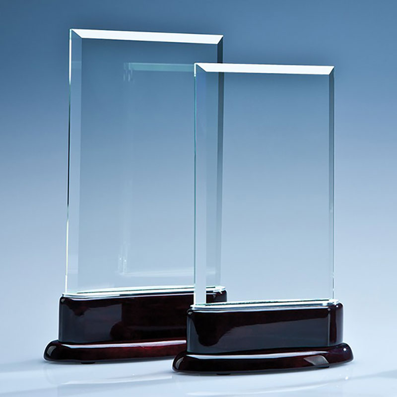 16.5cm Crystal Rectangle on Rosewood