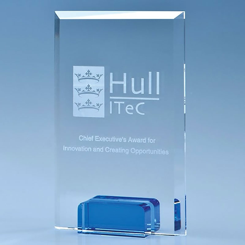 14.5cm Optical Crystal Rectangular Plaque on Sapphire Blue Base