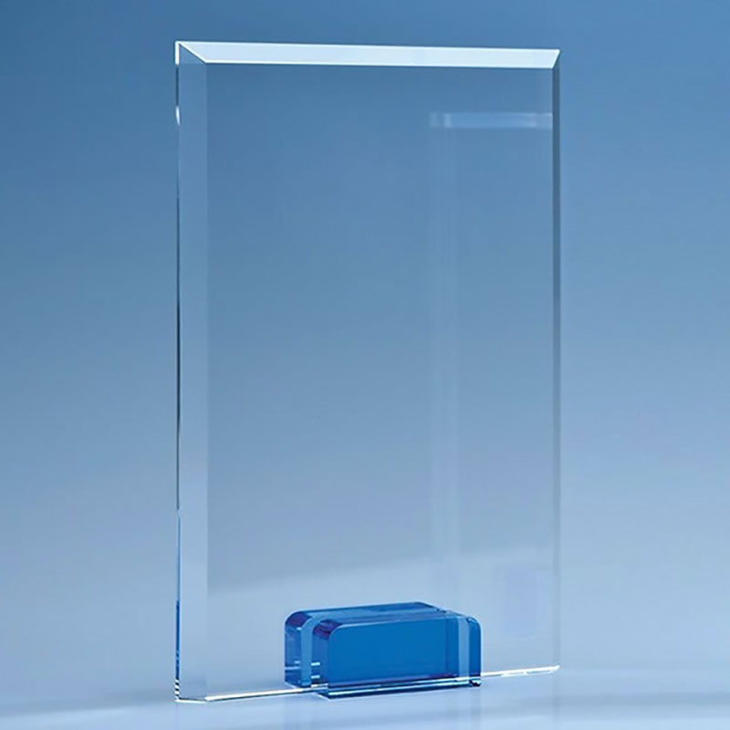 16.5cm Optical Crystal Rectangular Plaque on Sapphire Blue Base