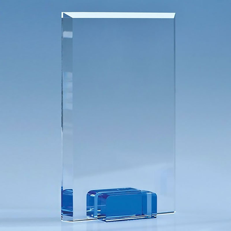 18.5cm Optical Crystal Rectangular Plaque on Sapphire Blue Base