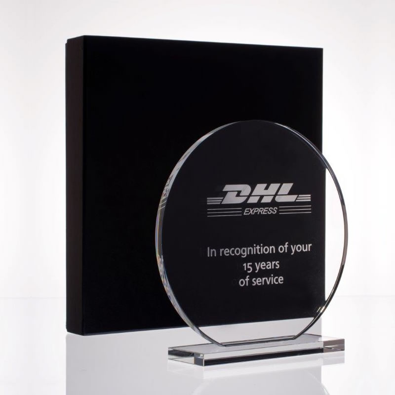 4in x 1/2in Clear Glass Circle Award