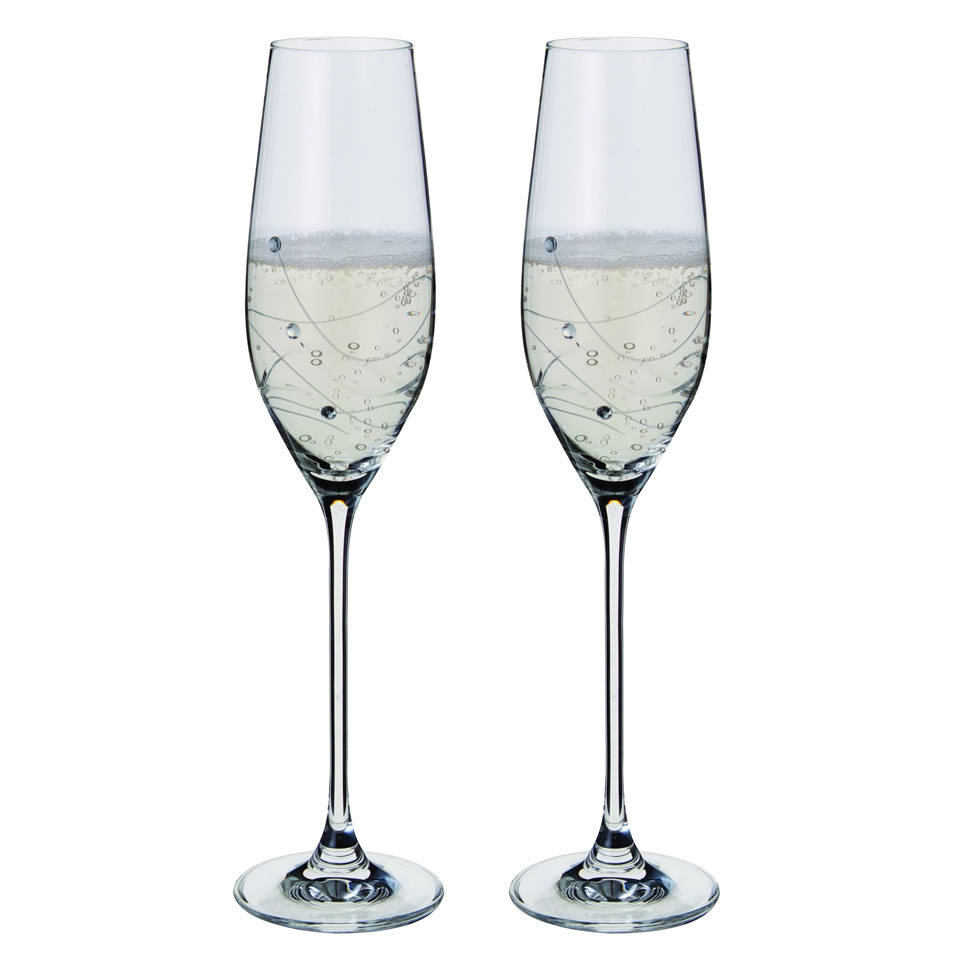 Pair Dartington Crystal Glitz Champagne Flutes