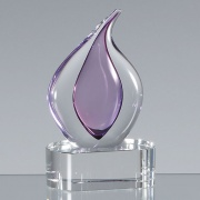 13cm Handmade Glass Heather Teardrop Award