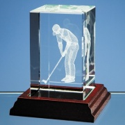 3D Putting Golfer in Optic Crystal Block