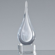 18cm Handmade Crystal White Teardrop Award