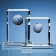 150mm Glass Golf Ball Rectangle Plaque