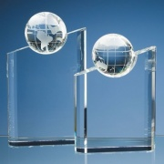 10in Tall Optic Crystal Globe Award