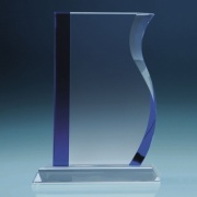 23cm Optical Crystal Blueline Wave Award