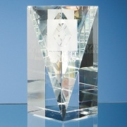 6in Optic Crystal Facet Rectangle Award