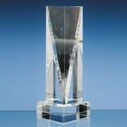 10in Optic Crystal Facet Rectangle Award