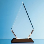 18cm Optical Crystal Peaked Plaque on Onyx Base