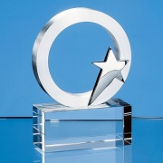 7.5cm Silver Star & Circle on Optical Crystal Base