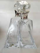 Pair of Crystal Lovers Decanters with Silver Mount